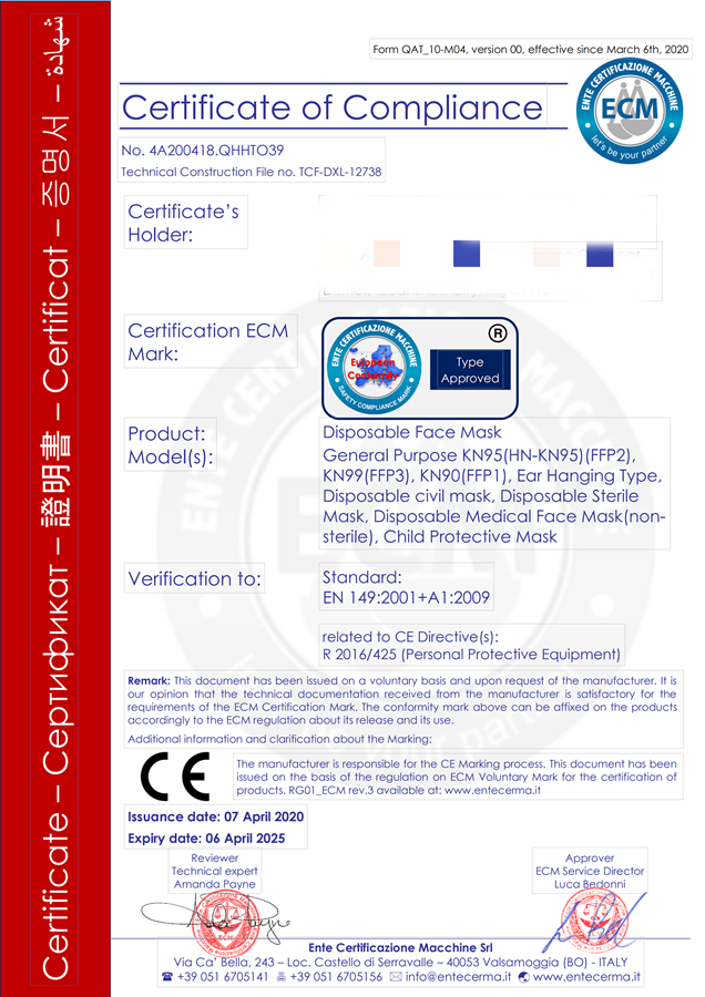 CE Certificate of KN95 Reusable Breathing Face Mask